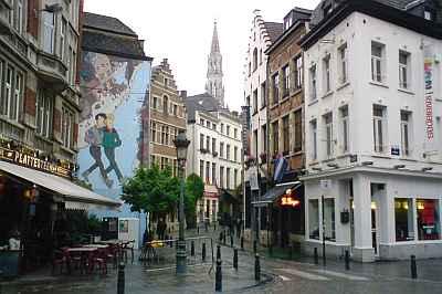 Brussel, zicht vanaf Kolenmarkt/Rue Marché au Charbonnes